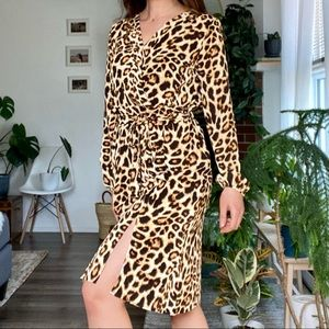 Leopard print sexy dress with tie waist and slit